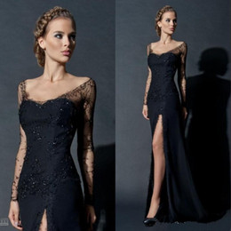 44d802b745 2017 Hot Sale Sexy Black Sequin Lace Long Sheer Sleeve Evening Gown Side  Slit Scoop neckline Long Sleeves Celebrity Prom Dresses Custom Made