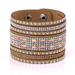 Wholesale Braclet Free Shipping - Wholesale- ladies statement braclet fashion jewelry free shipping leather crystal bracelets for women multilayer long bangles