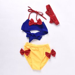 Wholesale Summer Baby Girl Bathing Suits - Baby Girls Swimwear 2017 New Summer Butterfly Snow White swimsuit bikini sets Fashion Cute Princess bathing suits 3pcs Sets C518