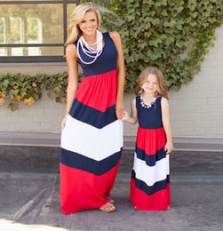 Wholesale White Cotton Beach Dress - Multi colors mother and daughter dress Girls dresses Mother and daughter clothes Stripe Girls slim sleeveless long dress Kids Beach Holiday