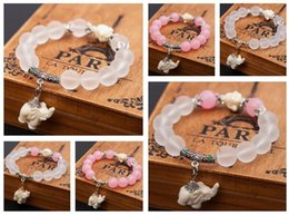 Wholesale Cute Clay Charms - Free shipping Bursts of frosted crystal fashion cute little elephant bracelet jewelry FB298 mix order 20 pieces a lot Charm Bracelets