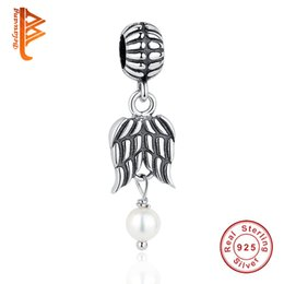 Wholesale Jewelry Made Feathers - BELAWANG 100% 925 Sterling Silver Feather Angel Wing Beads With Simulated Pearl Charm Jewelry Accessories Fits Pandora Bracelets Making