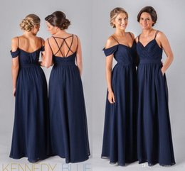 Wholesale Beach Wedding Junior Bridesmaid Dresses - Mix Order! 2016 Dark Navy Blue Chiffon Beach Bridesmaid Dresses Straps Different Style Junior Bridesmaids Dresses Wedding Guest Cheap Gowns