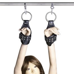Wholesale Suspension Restraints - BDSM TOYS Adult Game Leather Suspension Locking Hand Cuffs Fetish Sex Restraint Bondage Gear Handcuffs Sex Product