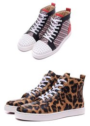 Wholesale Leopard Shoes Cheap - 2017 Designer Luxury leisure trainer footwear Casual Shoes,Cheap Red Bottom Sneakers for Men Women leopard genuine leather high top sneakers