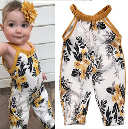 Wholesale Infants Suspenders - Baby Girls printed sleeveless Jumpsuits Infant Toddle One Piece sling suspenders Rompers Baby Onesies Kids Clothes Clothing