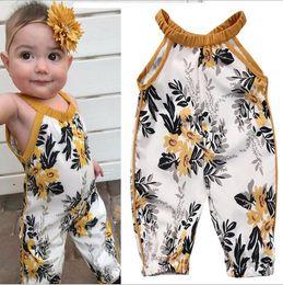 linda niña rosas Rebajas Niñas bebés impresos sin mangas Monos Toddle una pieza tirantes tirantes mamelucos bebé Onesies Ropa para niños Ropa