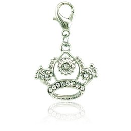 Wholesale Silver Crown Clasps - New Fashion Lobster Clasp Charms Dangle Rhinestone Pierced Imperial Crown Pendants DIY Making Jewelry Accessories Wholesale