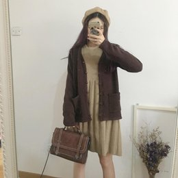 Wholesale Korean School Sweaters - Autumn And Winter Woman Korean Small Fresh Mori School Wind Coffee Department Of All-match Sweater Loose Coat Cardigan Knitting Vest Skirt