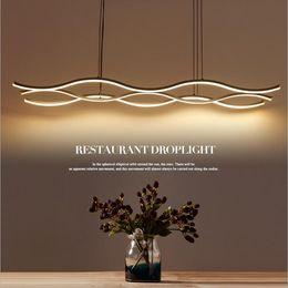 Wholesale Wave Lamp - Minimalism modern wave LED pendant light chandelier aluminum hanging pendant chandelier lamp fixtures for dining kitchen room bar AC85-265V