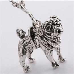 Wholesale Bronze Choker - Wholesale-Vintage Style Antique Silver Bronze Pug Necklace Cute Puppy Pug Dog Pendant Choker Necklace for Women Dog Breed