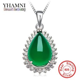 Wholesale Jade Pendant White - YHAMNI Original Natural Green Gem Malay Stone Pendant 925 Sterling Silver Necklace Fashion Crystal Pendant Necklace jewelry Wholesale XD276