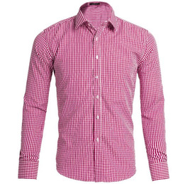 Wholesale Red White Plaid Shirt - 2017 new men's casual shirt men cultivating long sleeve shirt stitching Plaid pattern trend of men