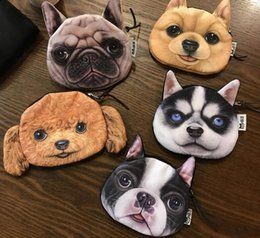 Wholesale Credit Card Storage - 2017 Promotion 3D Oval Animal Prints Mini Coin Bags Women Storage Pouch Cute Dog Wallets Kids Coin Purses