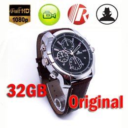 Wholesale 32gb Watch Spy Camera Hd - Built-in 32GB HD 1080P Mini Covert Spy Watch Camera Waterproof Nanny Camera Wristwatch IR Night Vision Security Camcorder