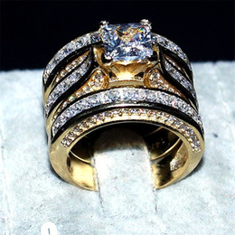 Wholesale Solid White Gold Wedding Rings - Luxury Real solid 14KT yellow gold Filled Ring Set 3-in-1 Wedding Band Jewelry For Women 20ct 7*7mm Princess-cut Topaz Gemstone Rings finger