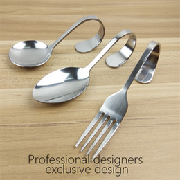 Wholesale Buffet Wholesale - Stainless Steel Travel Fork And Spoon Bent Fork Spoon Creative Hanging Spoon Seafood Buffet Bending Spoons Fork