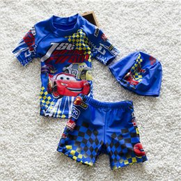 Wholesale Baby Boy Swimwear 12 Months - Free shipping 2017 NEW Handsome children swimwear cute baby small shark boy fission caps hot spring bathing suit to send caps