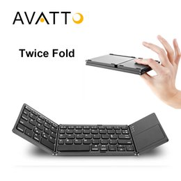 Wholesale Fold Keyboard Bluetooth - Protable A18 Bluetooth Folding Keyboard Twice Foldable BT Wireless Touchpad Keypad For IOS Android Windows ipad Tablet