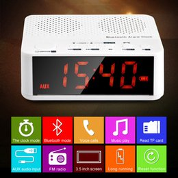 Wholesale Free Desktop Radio - Wholesale-MX-017 FM Radio Wireless Bluetooth V2.1 Speaker with Desktop Alarm Clock LED Time Display TF Reader Hands Free AUX In