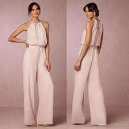 Wholesale Cheap Jumpsuits - Cheap Blush Pink Chiffon Jumpsuits Bridesmaid Dresses 2017 Halter Pant Suit Long Gowns For Wedding Party Guest Elegant