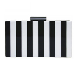 Wholesale Black White Striped Bags - 2017 luxury handbags women bags designer fashion new wallet classic evening bag black white vertical striped Clutch casual Shoulder Bag Hot