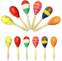 Wholesale Mini Wooden Instruments - Hot Sale Brand New Baby Wooden Toy Rattle Baby Cute Rattle Toys Musical Instruments Mini Wooden Sand Hammer Educational Toys