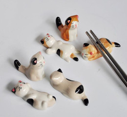 Wholesale Chopstick Spoon Fork - christmmasceramic ware cat chopstick rest porcelain spoon fork knife holder stand lovely animal shaped home Use dinner party a set of 5 each