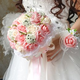 Wholesale wedding foam flower - 2017 Pink Bridal Bouquet Flowers with Hand Made Flowers Foam Rose Artificial Wedding Bouquets Elegant Bridal Holding Flowers
