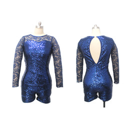 Wholesale Green Spandex Unitard - Navy Blue Sequin Unitard with Long Lace Sleeves and Open Back Girls Ladies Jazz Dance Costume