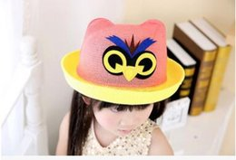 Wholesale Straw Owls - The new owl little hats caps childrens summer color matching straw hats kids animal hats wholesale