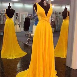 Wholesale Donna Brown - Evening Dresses Long 2017 Abiti Da Cerimonia Donna Sexy V Neck A Line Chiffon Prom Dress with Open Back