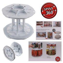 Wholesale Bottle Storage Organizer - Dual Tier Coke Can Holder Rotating Coke Bottle Rack Kitchen Organizer Bottle Shelf Cabinet Plastic Storage Rack Spinning Carousel Shelf
