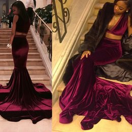 Wholesale Real Samples - Sexy Deep V neck Sleeveless Velvet Two Pieces Burgundy Prom Dresses 2017 Real Sample Long Court Train Mermaid African Prom Gowns