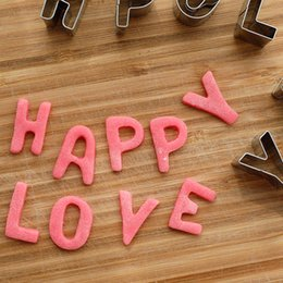 Wholesale Decorated Letters - Stainless Steel Alphabet Letters Biscuit Cookies Cutters Molds Mini Shaped Mould Decorating Tool for diy cooking