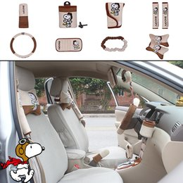 Wholesale car steering wheel accessories - 10pcs unit Auto Accessories Snoopy Brown Car Upholstery Steering wheel cover pillow Cartoon car covers set Universal Automotive interior