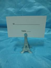 Wholesale Eiffel Tower Place Card Holders - Wholesale- 50pcs lot Wedding Favor Silver Eiffel Tower Place Card Holder with Matching Place Card Wedding Decoration Accessory