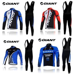 Wholesale Sleeved Bibs - 2015 Giant Team Long Sleeve Cycling Jersey And Bib Pants Sets Men Winter Thermal Fleece Cycling Clothing sleeved warm winter