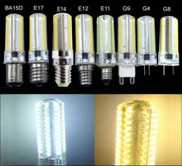 Wholesale E12 Led Dimmable 7w - G4 G8 G9 GY6.35 E11 E12 E14 E17 BA15d Dimmable Led bulb 152 LED 3014 SMD Silicone bulb 7W AC 110V 220V Crystal White   Warm Light Lamp