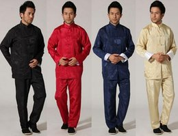 Wholesale Chi Kung Clothing - Tang suit men's silk suit tai chi kung fu costume costume Chinese clothing men's silk kung fu Tai Chi clothing performance clothing