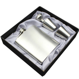 Wholesale Hip Flask 7oz - Hip Flasks 7oz Luxury Stainless Steel Hip Flask Sets Whiskey Alcohol Liquor Wine Bottle Drink Mug with Gift Box Cups Funnel Drinkware