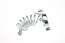 Wholesale Men S Chastity Belts - Stainless Steel Chastity Cage Men S Chastity Belts Spiked Chastity Lock Anti-Erection Cock Cage Sex Toys 38mm,40mm,42mm,45mm,50mm