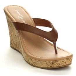 Wholesale Thong Platform High Heels - Large Size Customized Women's Summer Faux Leather Platform High Heels Flip Flops Cork Wedge Heel Thong Sandals Beach Shoes