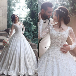 Wholesale Plus Size Romantic Wedding Dresses - Luxury Lace Ball Gown Wedding Dresses with Long Sleeve 2017 Romantic Appliques Full Lace Sweep Train Wedding Bridal Gowns New Arrival