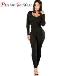 Wholesale Silk Women S Jumpsuits - Wholesale- High Quality 2016 Autumn Women Sexy Black Long Jumpsuit Skinny Bodysuit Elastic Milk Silk Bodycon Party Night Club Romper Ladi