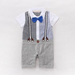 Wholesale Tie Romper New - Retail Summer New Baby Boys Romper Bow Tie Strap Plaid Short Sleeve One-Piece Jumpsuits Overalls Toddler Clothes 3-18M 13642