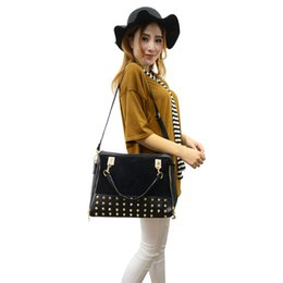 Wholesale Studded Bag Free Shipping - Wholesale-New Arrival Europe Womens Vintage Zipper Studded Single Shoulder Bags Handbags Free Shipping 1STL