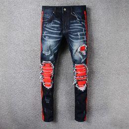 Wholesale Urban Hip Hop Jeans - Ripped Knee Men Jeans Fashion Hip Hop Urban Men Motorcycle Distressing Biker Slim Skinny Jeans Black Mix Red Side Stripe Slim Robin Jeans