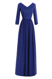 Wholesale V Com - Long Sleeve Evening Dresses 2017 Vestido De Festa Longo Com Renda Royal Blue Mother of the Bride Chiffon Dress