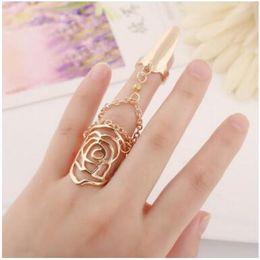 Juntas rosa on-line-Anel de dedo de ouro Jóia Piercing Rose Conjoined Geometria Tassel Strass Unha Banda Anéis presentes Para As Mulheres acessórios de moda